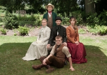 Front: Connor Dooley (Giles Winterbourne). Centre, left to right: Sophie Cridland (Grace Melbury); Robert Cole (Dr Fitzpiers); Emma Hill (Mrs Charmond). Back: Chris Pullen (Mr Melbury).
