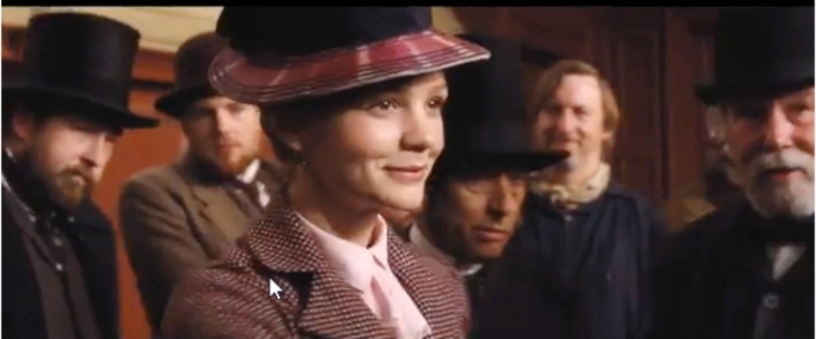 Screen shot of a scene from the film with Carey Mulligan in the foreground