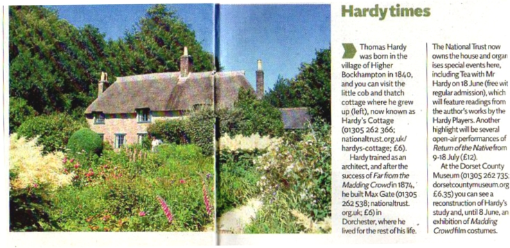 Short newspaper article with picture of Hardy's Cottage
